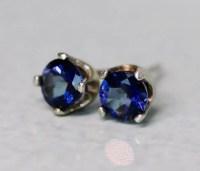 Dark Blue Topaz Earrings 5mm Silver Earring Studs