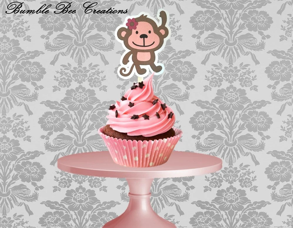 Cupcake Toppers Set Of 12 Monkey Pink Theme