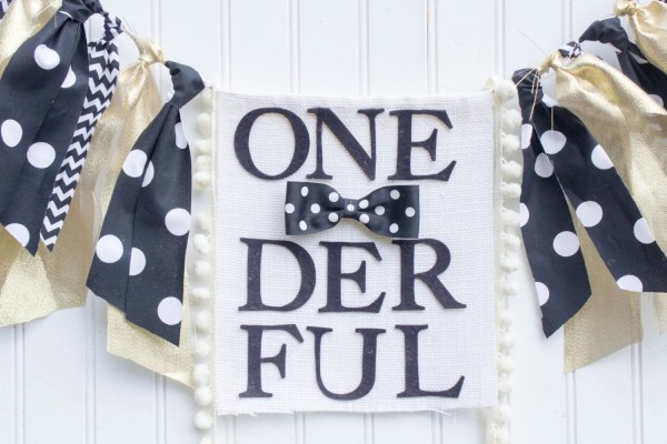Onederful Birthday Highchair Banner Black