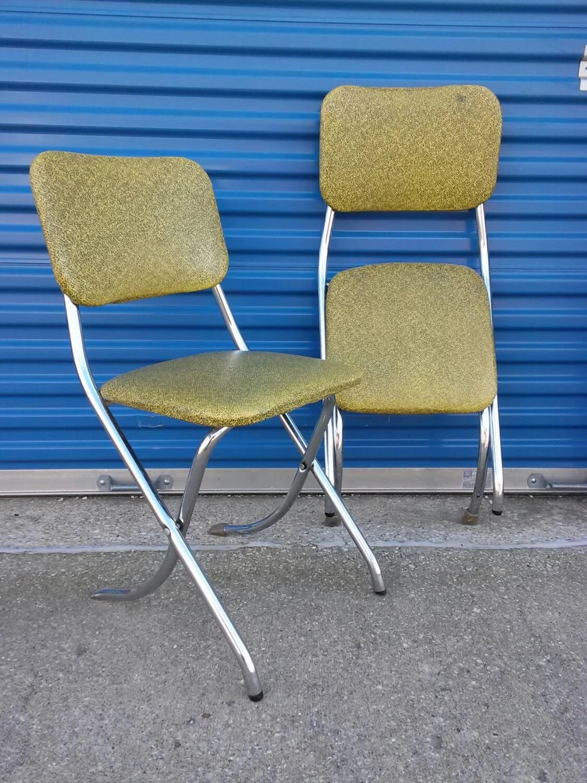 folding chair yellow deck lounge pair of lee krome fold retro mid century green