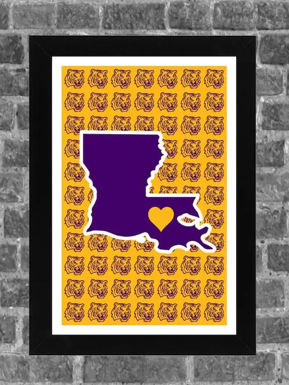 LSU Tigers Heart College Baton Rouge Louisiana Sports Print