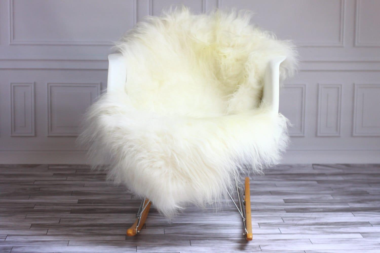 sheepskin rug on chair wooden hammock stand sale white icelandic real
