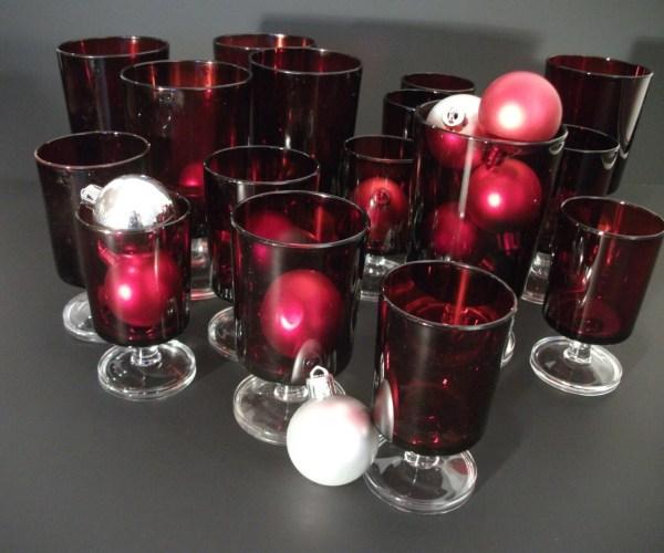 Ruby Red Cut Glass Mug Arcoroc Luminarc Cris Arques - Year