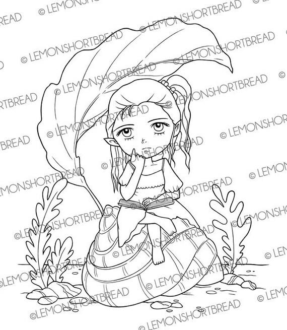 Digital Stamp Reading Book Elf Fairy, Digi Download