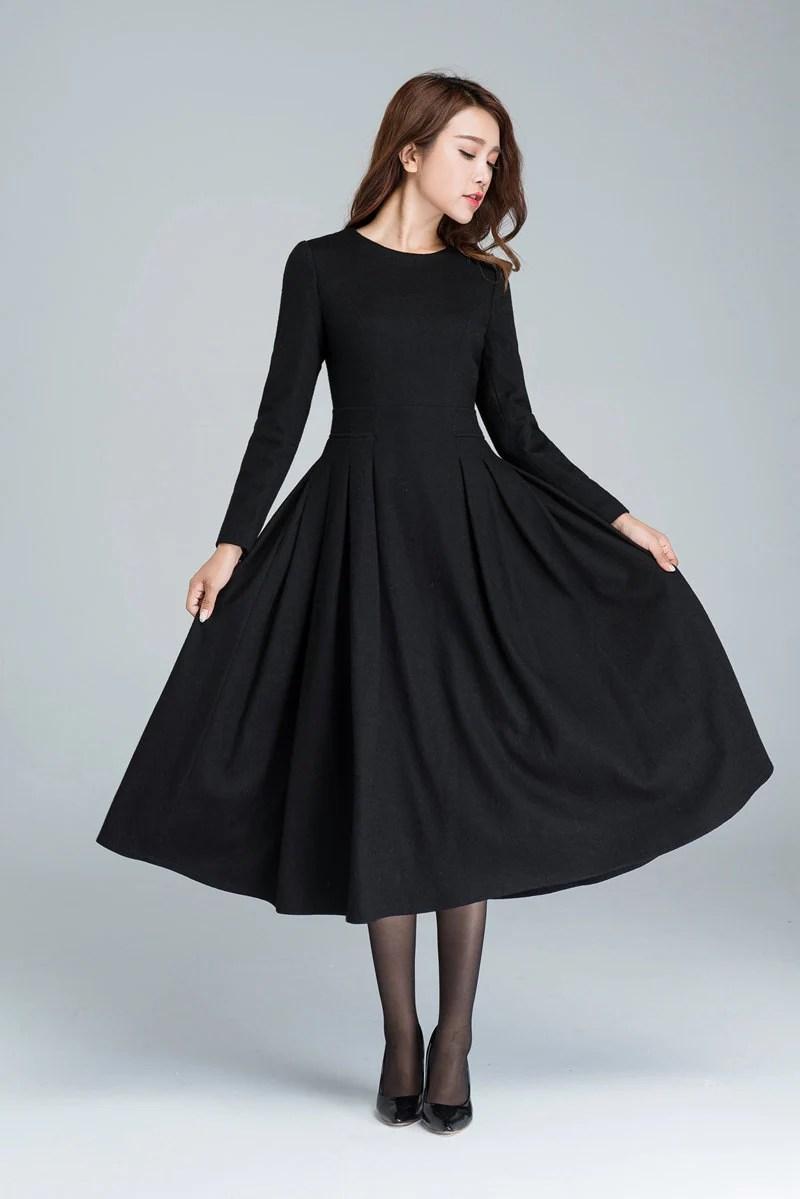 long black dress wool dress winter dress pleated dress