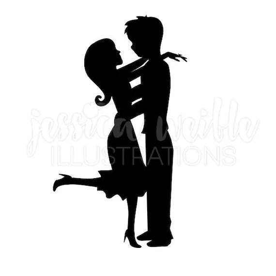 sweet couple silhouette cute digital