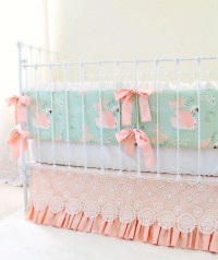 Peach and Mint Crib Bedding Set Custom Baby Girl Bedding with