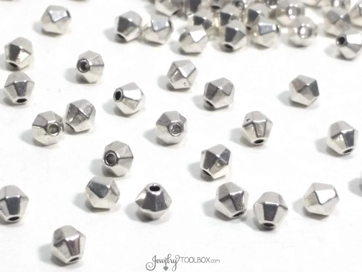 Metal Bicone Beads Spacer Beads Bulk Beads Antique Silver