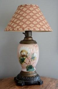 1800's Antique Lamp Electrified Oil Lamp Cottage Lamp