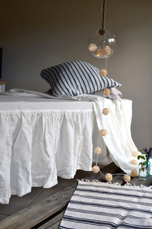 Ivory Heavy Weight Rustic Ruffled Linen Bedskirt Valance