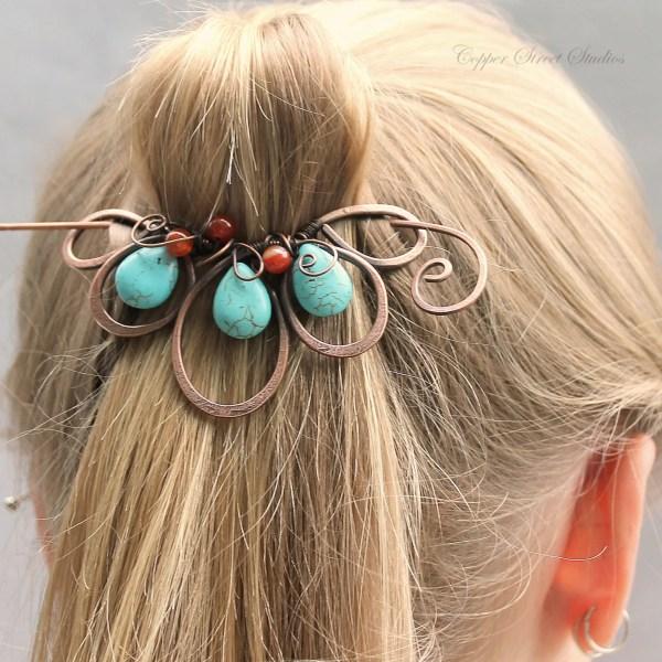 Blue Boho Hair Clip Beaded Barrette Turquoise
