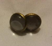 Handmade Grey Glass Bead Stud Earrings by JeaniRo on Etsy