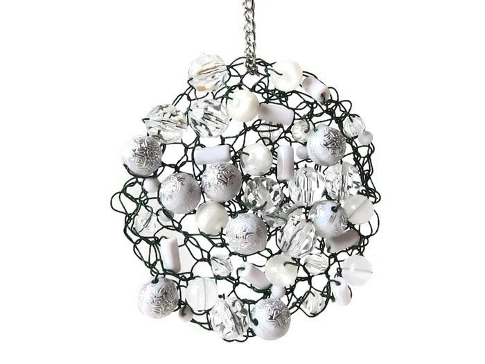 Wire Crochet Metal Christmas Ornament with by