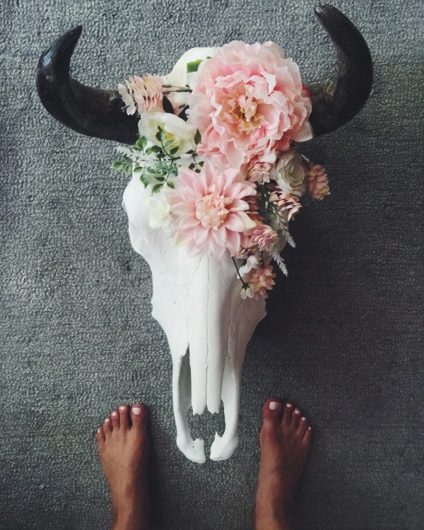 Decorated Cow Skull with Pink Flowers