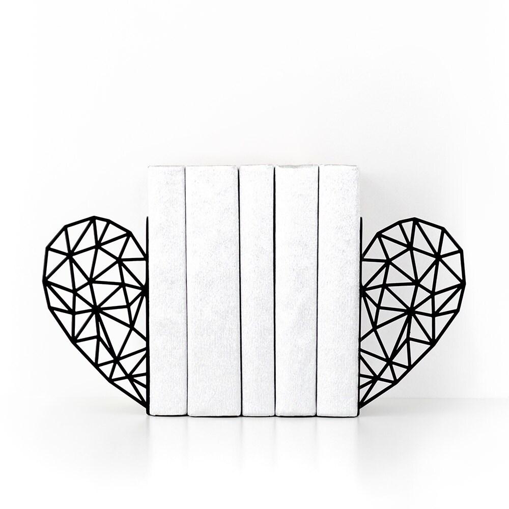 Heart bookends Modern decor Geometric decor Book ends Book