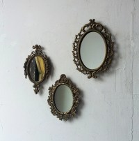 Vintage Gold Mirror Set Small Decorative Mirrors Oval