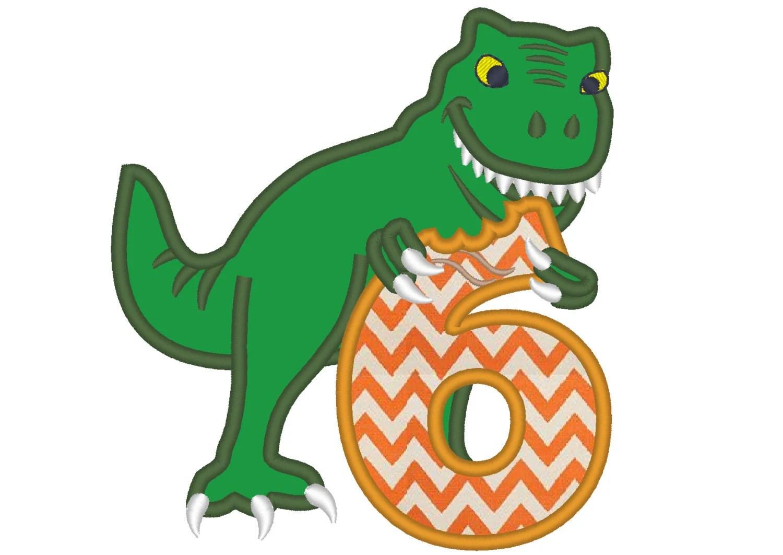 T Rex Dinosaur Birthday Number Six 6 Machine Embroidery