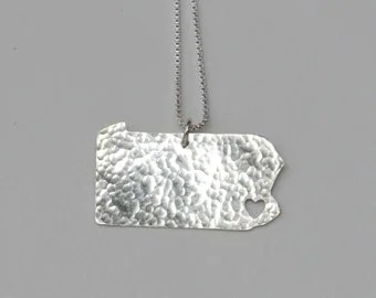 California Necklace. Custom State Map Cutout with a Heart.