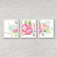 Pink Hydrangea Watercolor Wall Art Instant Download Shabby