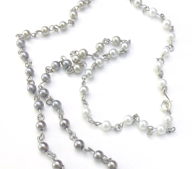 Hombre Pearl Beaded ID Lanyard Pretty Acrylic Pearl Bead