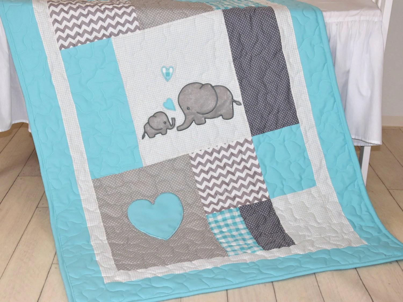 Aqua Gray Blanket Elephant Quilt Blanket Chevron Baby
