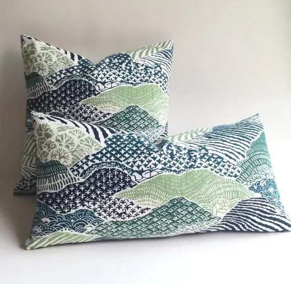 Rolling Hills Navy Teal and Green Pillow Cover Dark Green