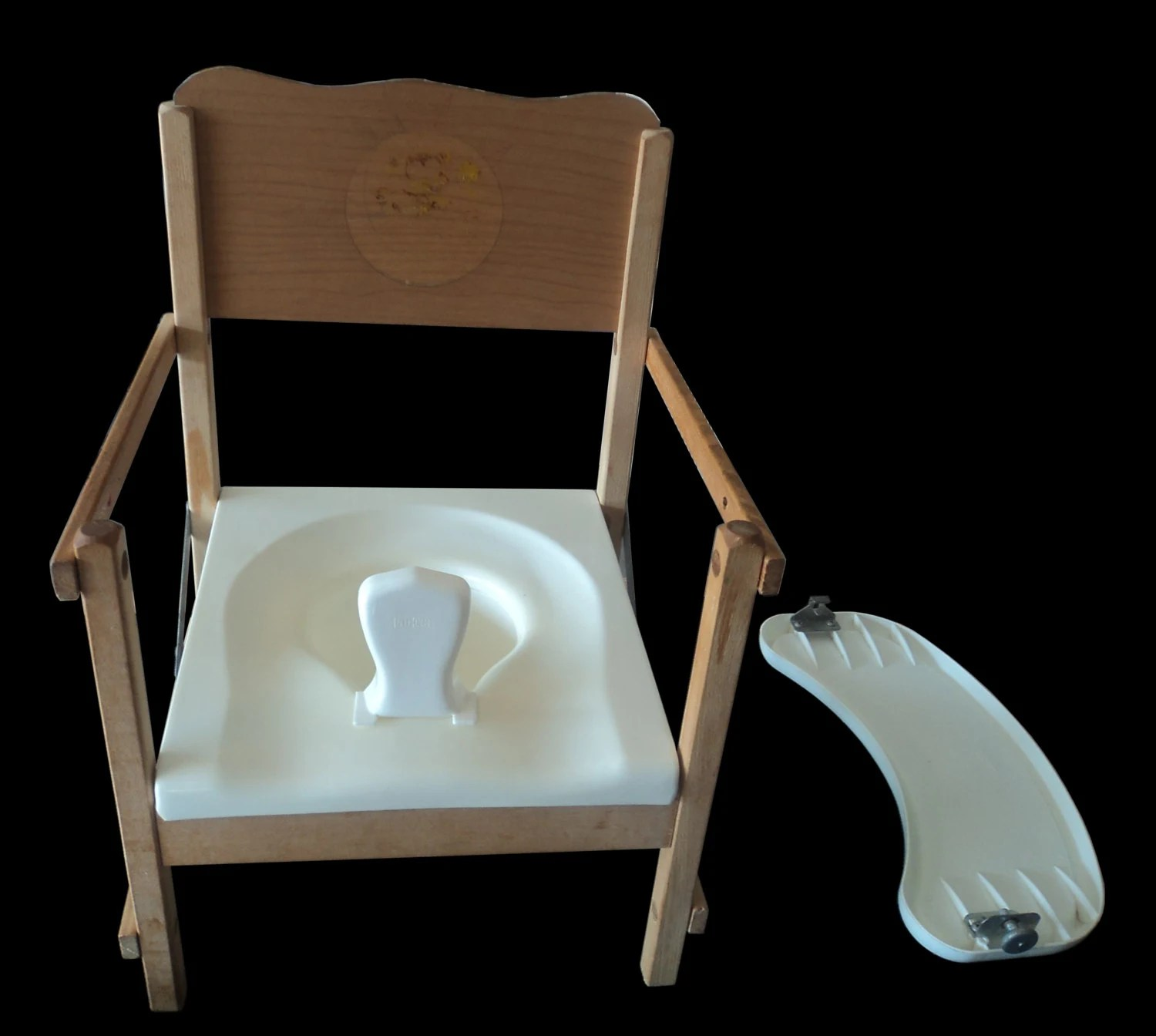 toddler chair with tray water hammock lounge wooden potty old fashioned by 1950spottychairs