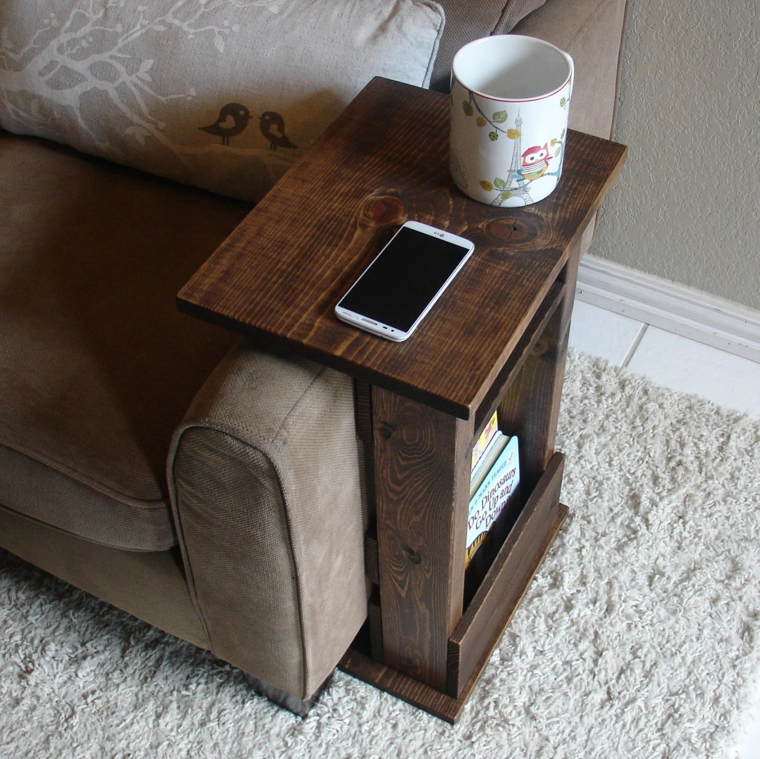 couch sofa armrest wrap tray table with side storage slot vintage danish tan leather chair arm rest stand ii shelf and