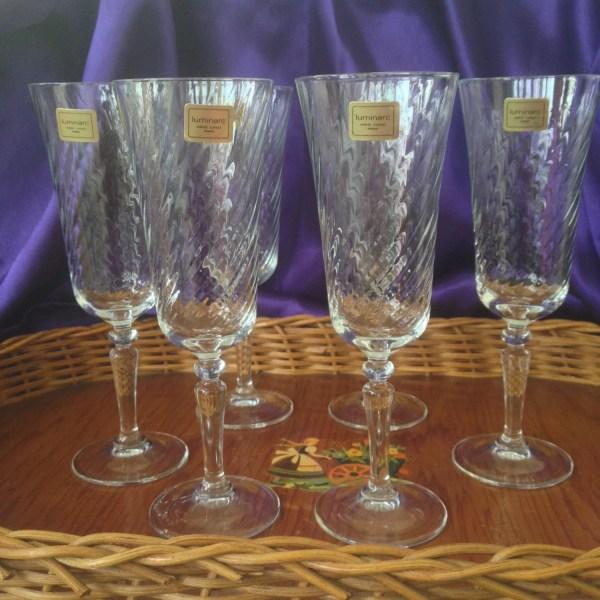 Luminarc Swirled Wine Glasses Verrerie 'arques France