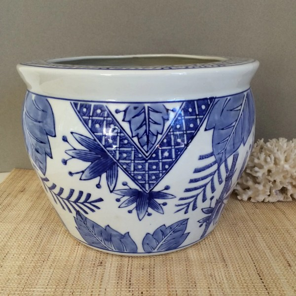 Vintage Blue And White Planter Chinese Fish Bowl