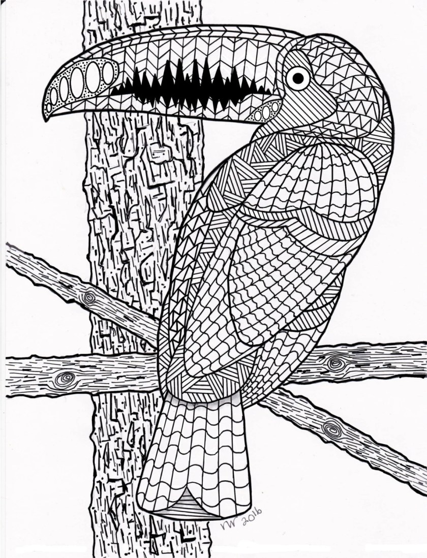 coloring page zentangle toucan / exotic bird digital