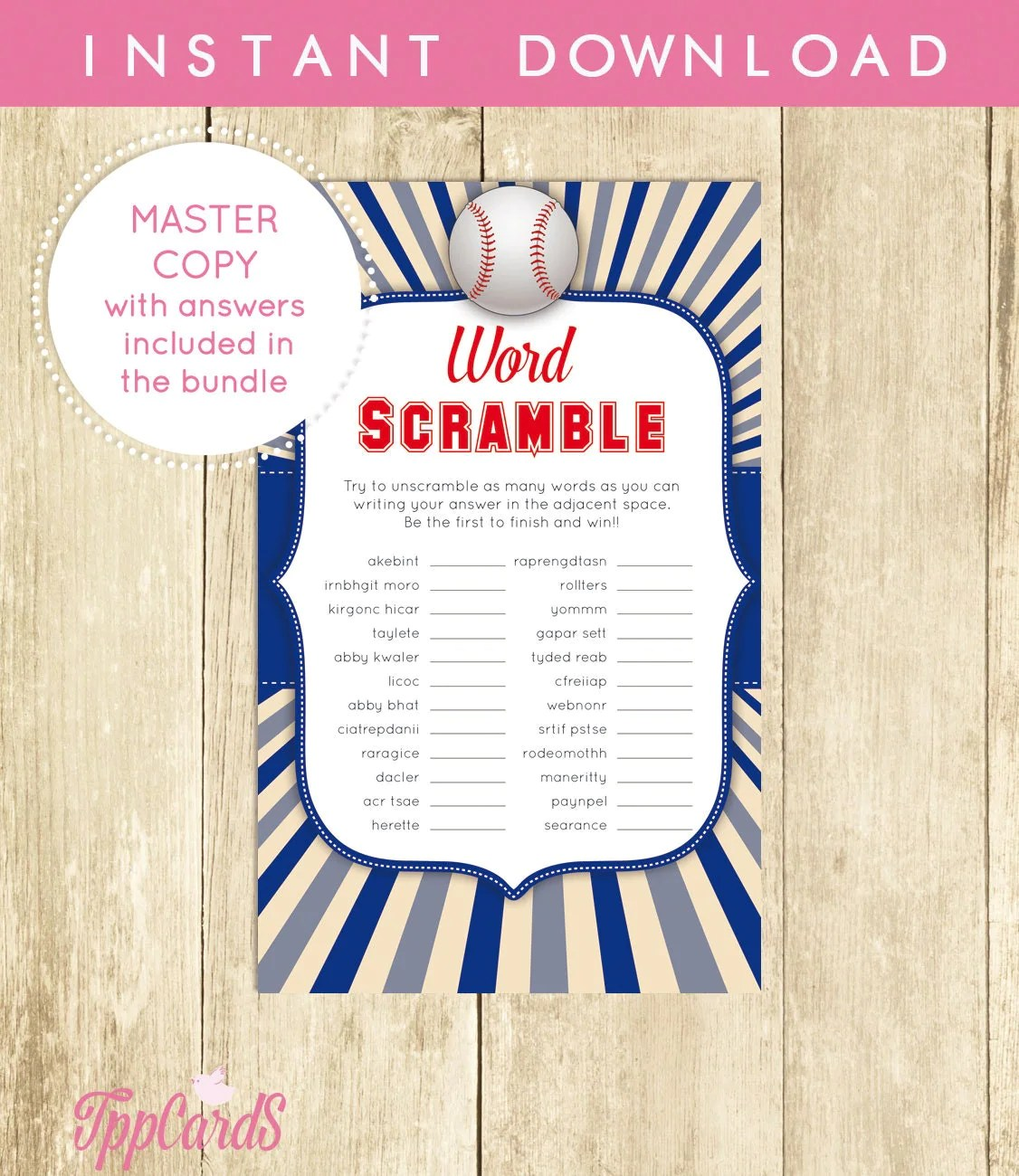Baby Shower Word Scramble Game Baseball Printable Digital File