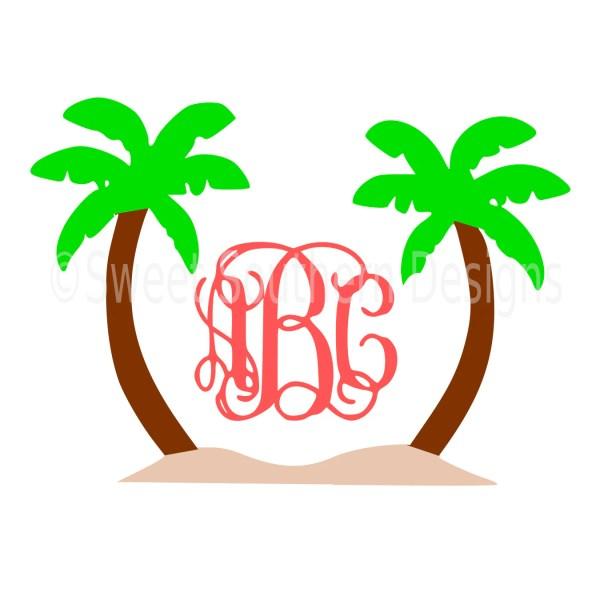 Monogram Palm Trees Beach Svg Instant Design