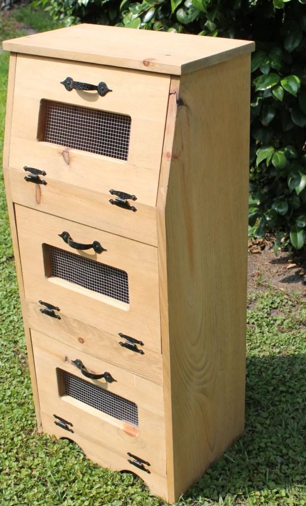 Vegetable Box Bin Potato Bread Storage Cupboard Primitive