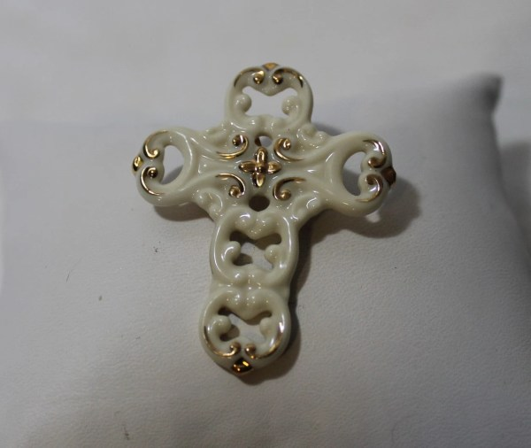 Vintage Porcelain Cross Brooch Pendant