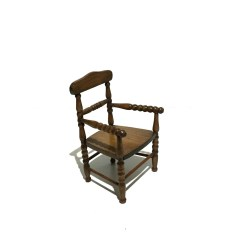 Wood Hand Chair Upholstered Side Chairs Dining Antique Carved Turned Doll