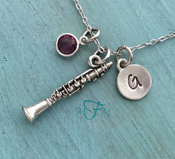 Clarinet Charm Necklace Personalized Silver Pewter