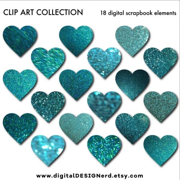 clip art hearts teal blue glitter