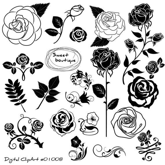 Rose set clipart, Rose Flowers Clipart, Floral Bouquet