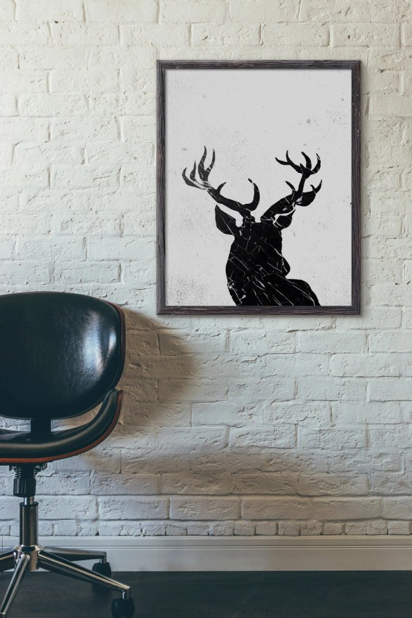 Deer Head Printable Abstract Art Wall