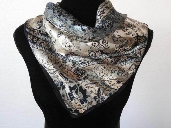Vintage 80s Silk Scarf Anne Klein Bali Batik Design Indigo