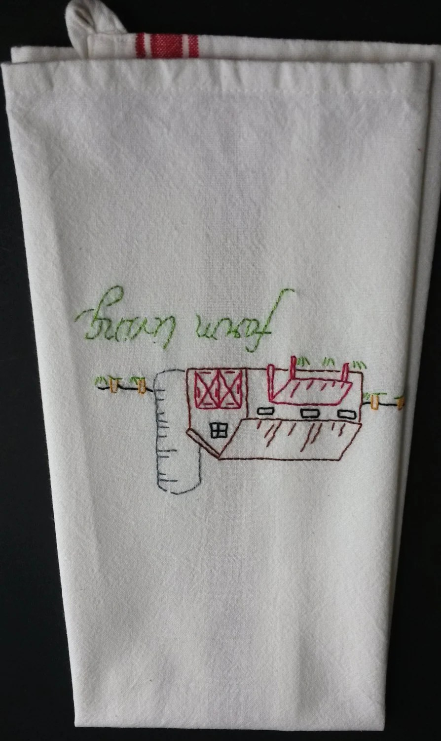 kitchen hand towels sinks austin tx farm living tea towel country decor embroidered