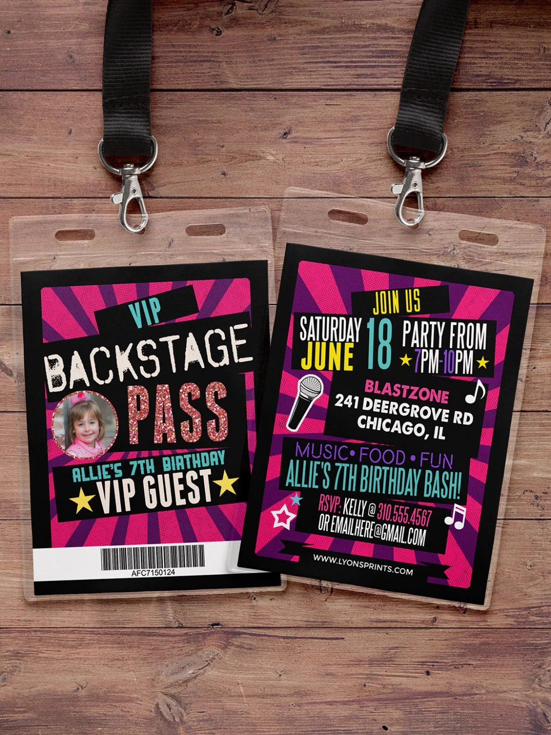 birthday invitation rock star VIP PASS backstage pass