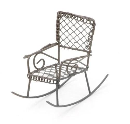 Miniature Rustic Metal Rocking Chair fairy garden