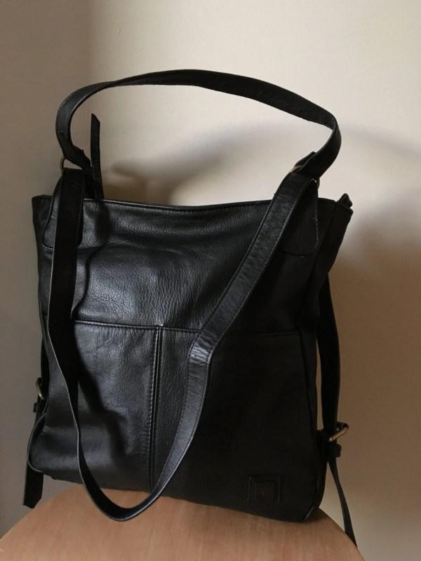 Convertible Leather Backpack Bag. Shoulder Tote Real