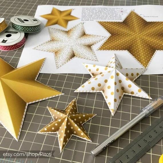 Gold Star Garland Gold Party Decor Printable Party Decor