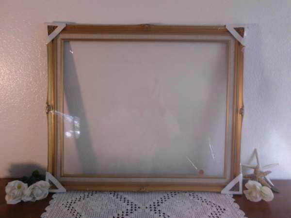 Large Vintage Frame 20 X 24 Gold Linen