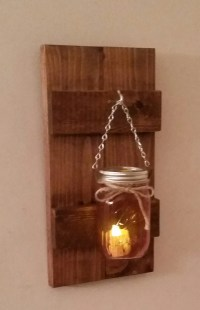 Rustic Wood Wall Sconce with Ball Mason Jar Battery Candle