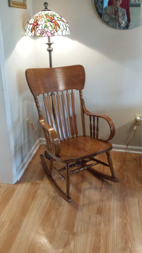 Antique Oak Bentwood Rocker Rocking Chair