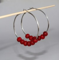 Oversize hoop earrings Large hoops with wooden red beads Red